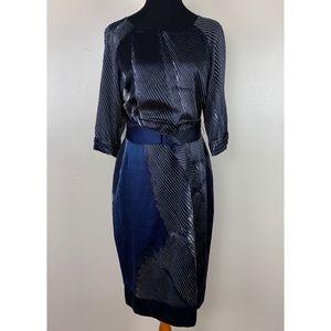 Elie Tahari Silk Blue Abstract Print Belted Dress